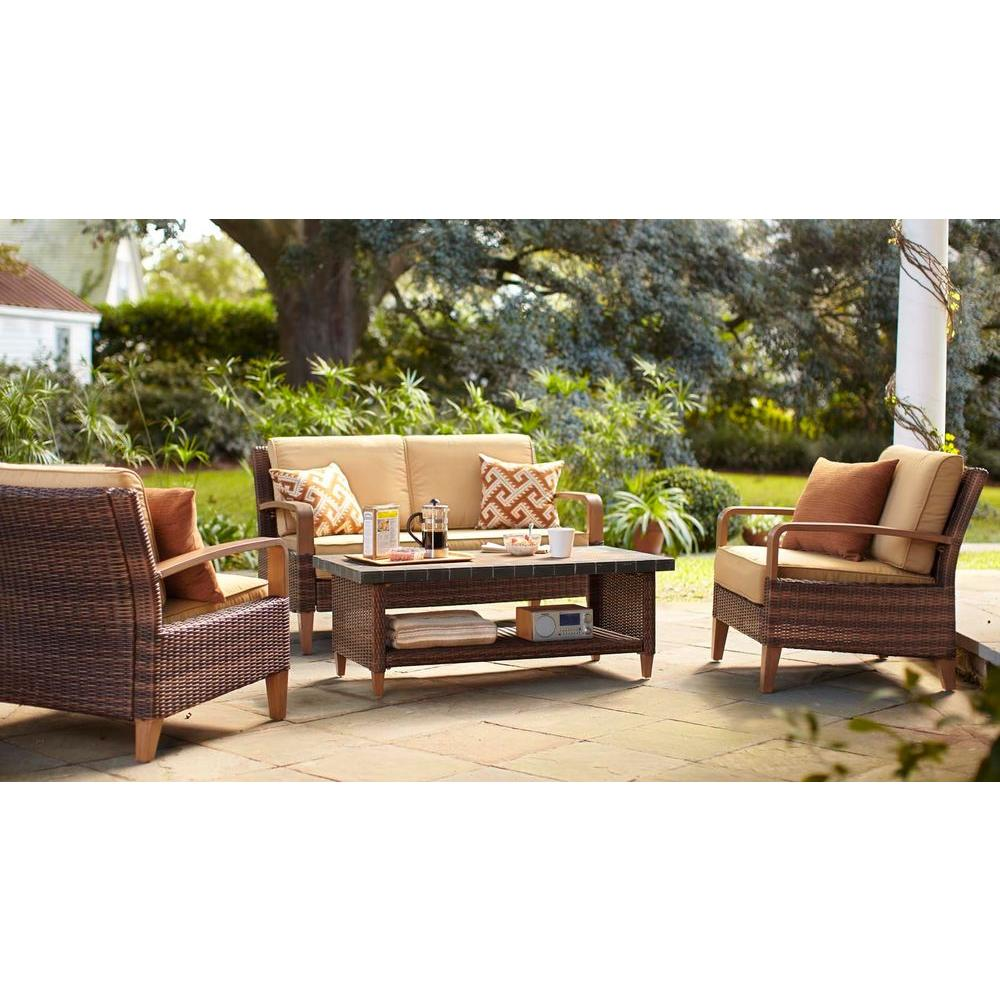 Hampton Bay Morris 4-Piece Patio Seating Set with Tan Cushions-DISCONTINUED