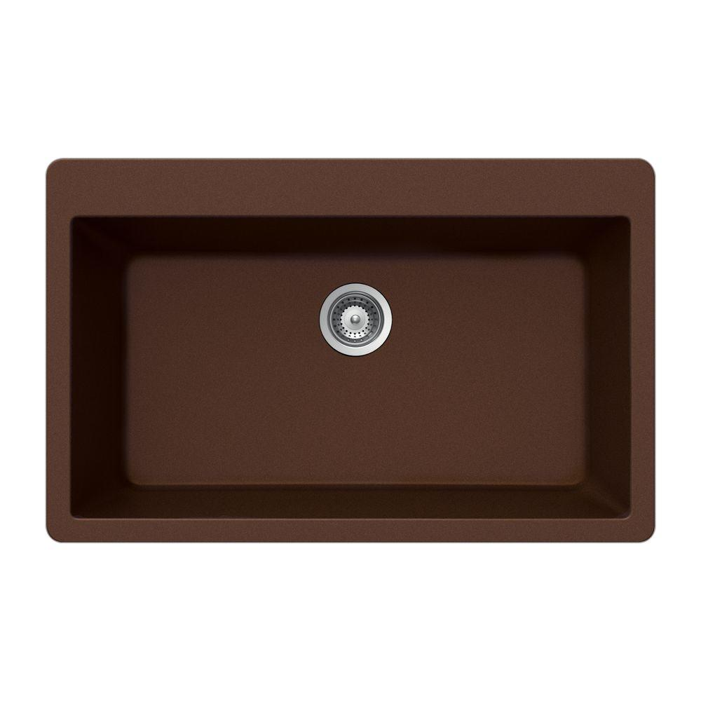 HOUZER Virtus Series Drop-In Granite 33x20.875x9.5 0-hole Single Basin Kitchen Sink in Copper