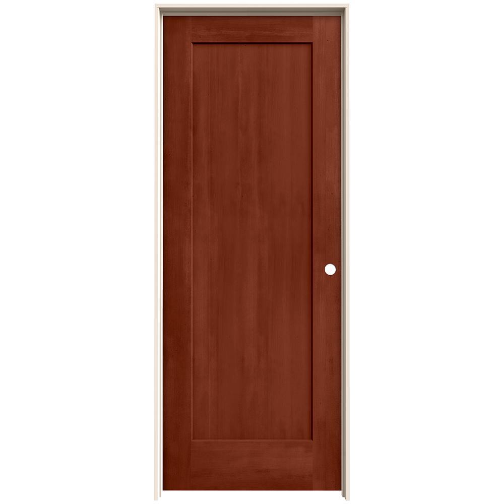 30 in. x 80 in. Madison Amaretto Stain Left-Hand Molded Composite MDF Single Prehung Interior Door