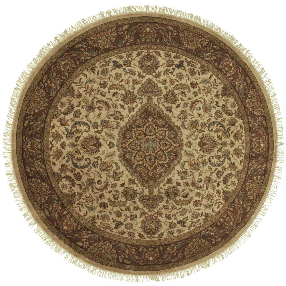 Samode Cream 8 ft. Round Area Rug