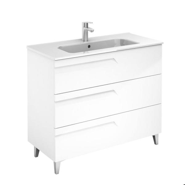Vitale 40 in. W x 18 in. D 3-Drawers Vanity in White with White Basin