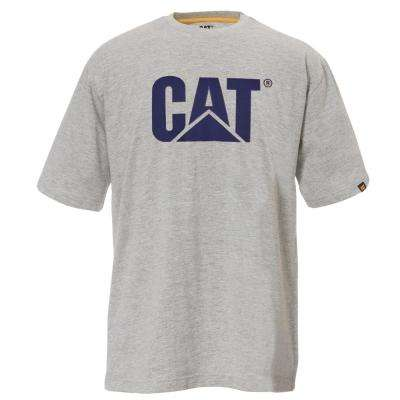 TM Logo Men's Large Heather Grey Cotton Short Sleeved T-Shirt