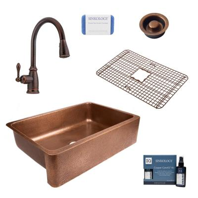 Lange All-in-One Farmhouse Copper Sink 32 in. Single Bowl Kitchen Sink with Pfister Faucet and Disposal Drain in Bronze
