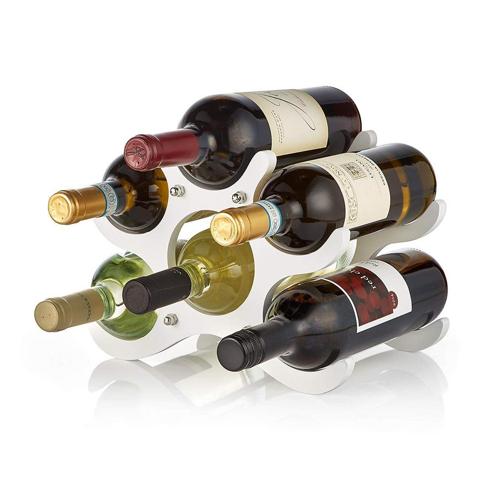 6 Bottle Wood White Wine Rack