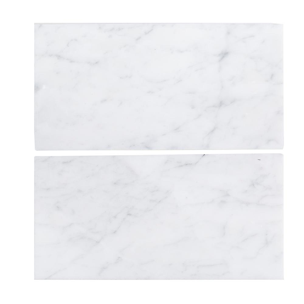 6 In X 12 Italian White Carrara Honed Marble Field Wall Tile