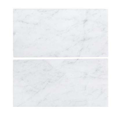 6 in. x 12 in. Italian White Carrara Honed Marble Field Wall Tile (2-Pieces / pack)