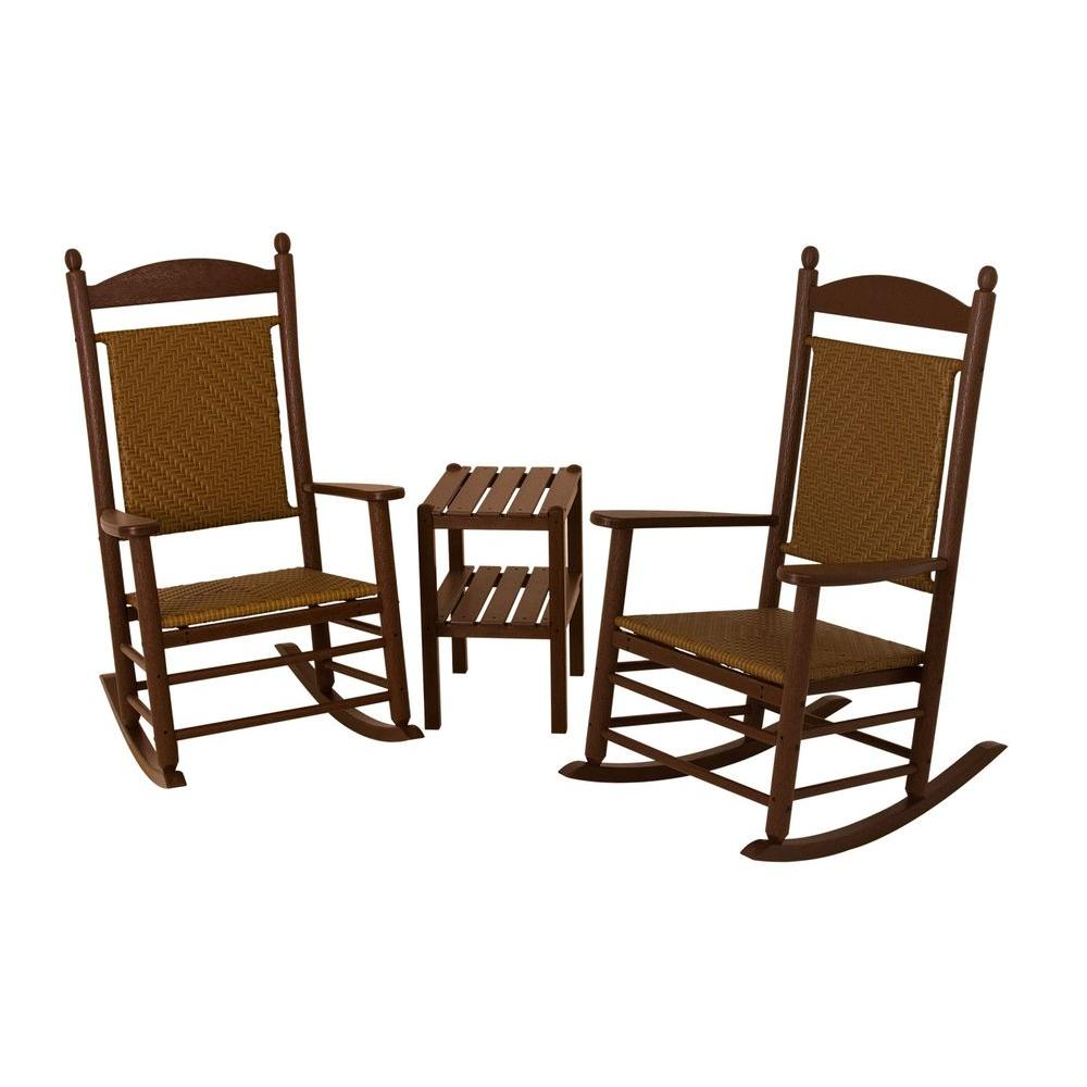 POLYWOOD Jefferson Mahogany 3-Piece Woven Patio Rocker Set with Tigerwood Weave