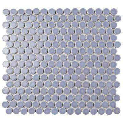 Hudson Penny Round Lavender 12 in. x 12-5/8 in. x 5 mm Porcelain Mosaic Tile