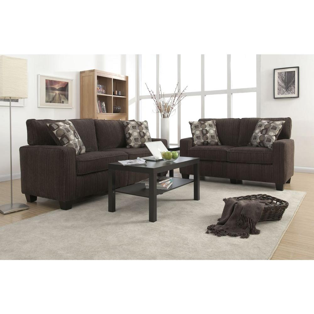 Captivating Serta RTA San Paolo Mink Brown/Espresso Polyester Sofa