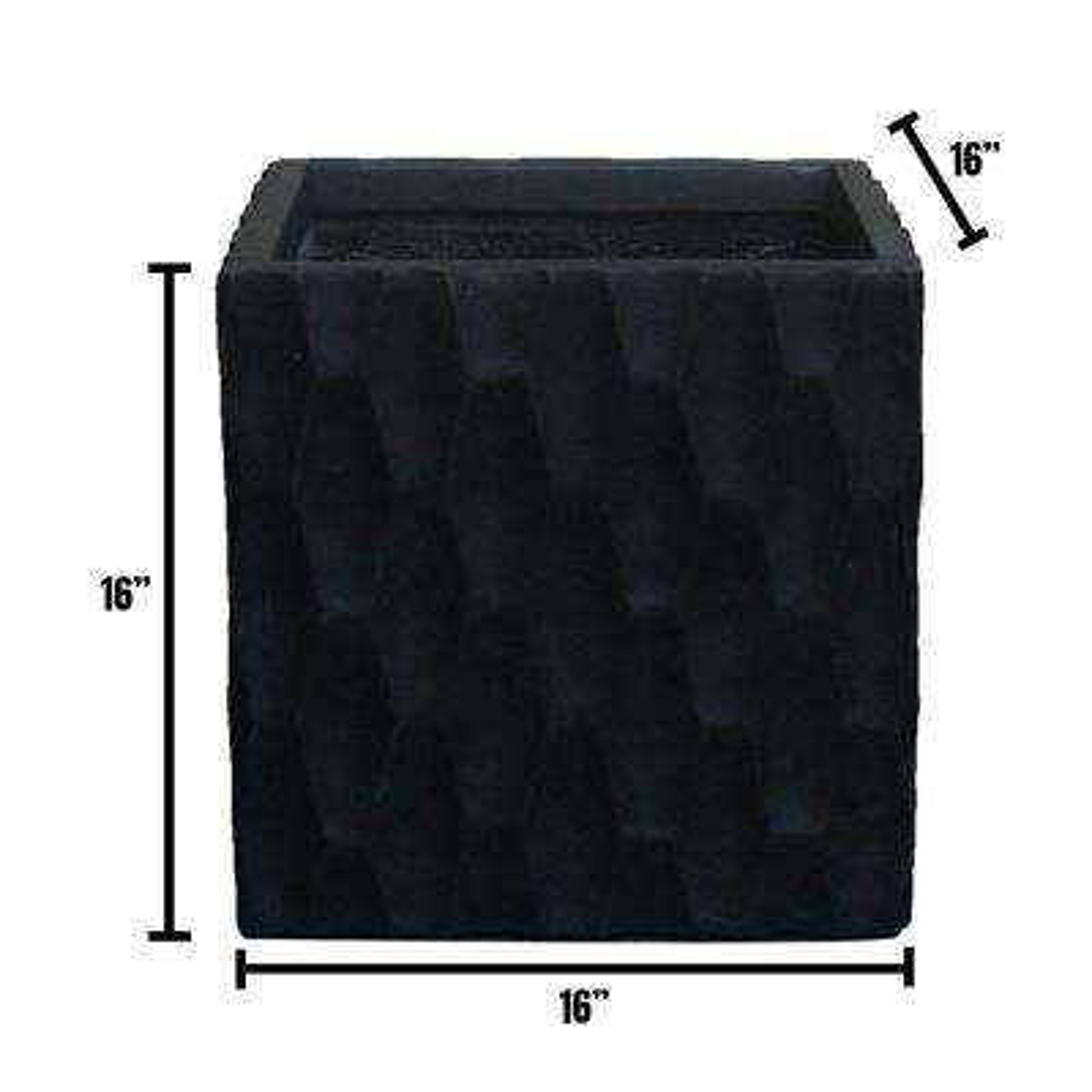 Large 16 in. x 16 in. x 16 in. Black Lightweight Concrete Retro Square Planter