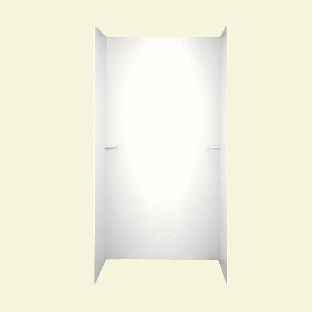 Swan 36 in. x 62 in. x 96 in. Three Piece Easy Up Adhesive Shower Wall Kit in Tahiti White-DISCONTINUED