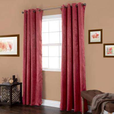 Blackout Mila Burgundy Polyester Black Out Curtain 54 in. W x 84 in. L