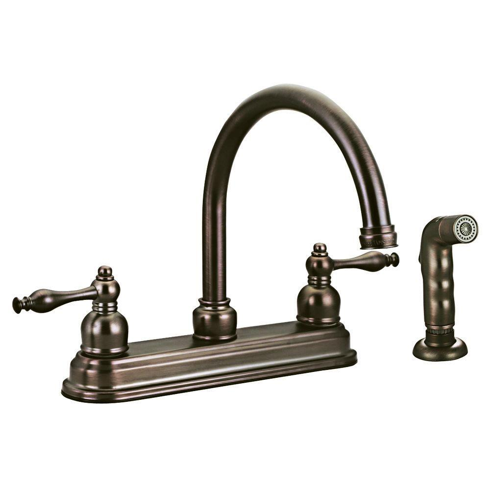 Design House Saratoga 2-Handle Side Sprayer Kitchen Faucet in Brushed Bronze