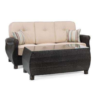 Breckenridge 2-Piece Wicker Outdoor Sofa and Coffee Table Set with Sunbrella Spectrum Sand Cushion
