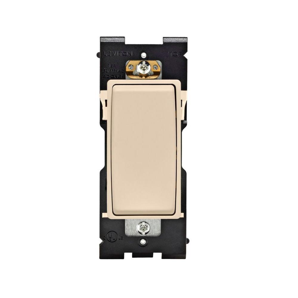 Leviton Renu 15 Amp Single Pole Rocker Switch - Whispering Wheat-DISCONTINUED