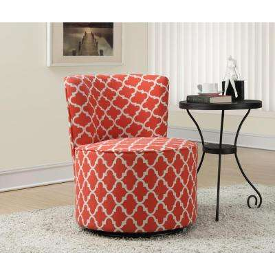 Coral Fabric Swivel Accent Chair