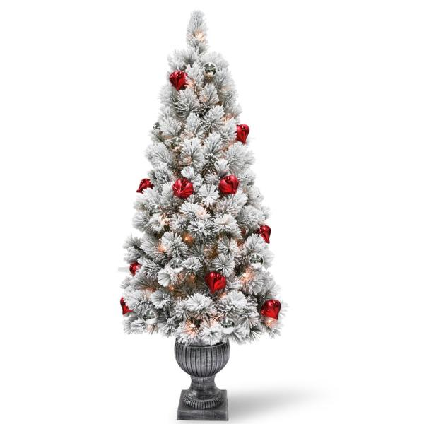 5 ft. Snowy Bristle Pine Entrance Tree with Clear Lights