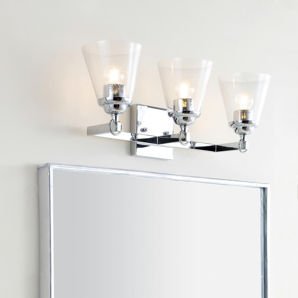 Marion 21 in. 3-Light Hurricane Metal/Glass Chrome Vanity Light