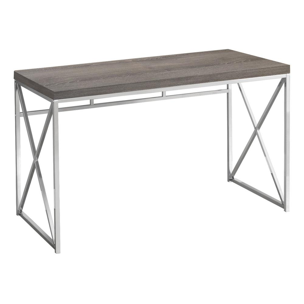 48 in. Rectangular Dark Taupe Writing Desk with Open Storage