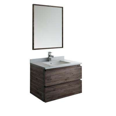 Formosa 30 in. Modern Wall Hung Vanity in Warm Gray with Quartz Stone Vanity Top in White with White Basin and Mirror