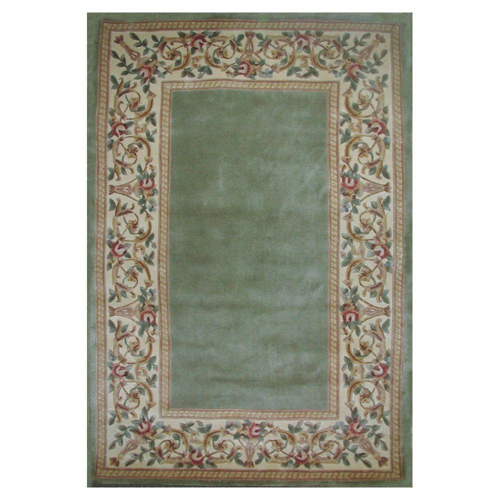 Kas Rugs Lush Floral Border Sage 8 Ft. X 10 Ft. 6 In. Area