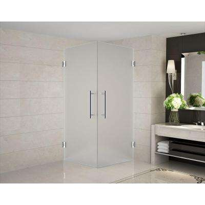 Vanora 38 in. x 38 in. x 72 in. Completely Frameless Square Shower Enclosure with Frosted Glass in Chrome