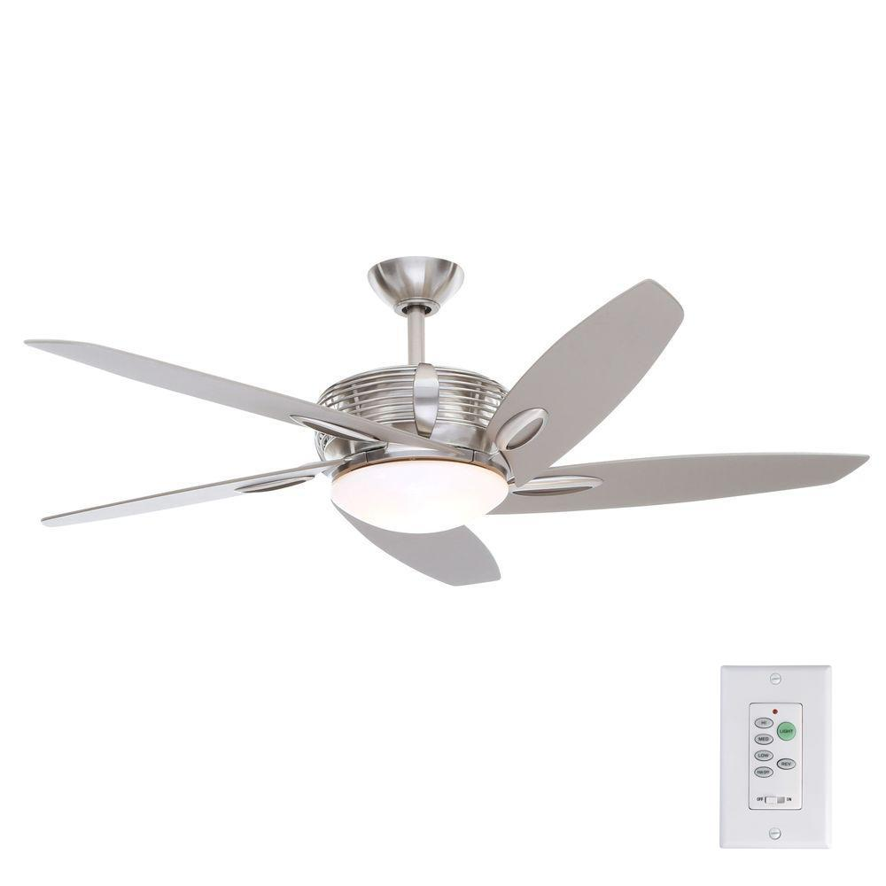 Hampton Bay Arctic Sky 54 In Indoor Brushed Nickel Ceiling Fan With Light Kit And Wall Remote Control