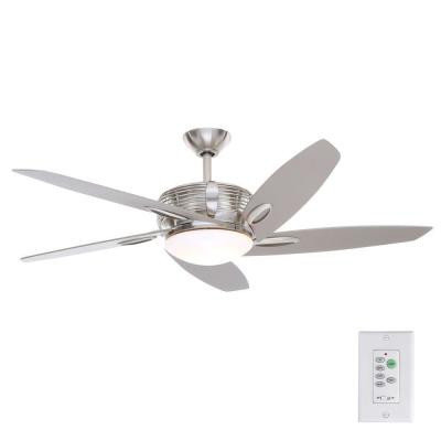 Arctic Sky 54 in. Indoor Brushed Nickel Ceiling Fan with Light Kit and Wall Remote Control