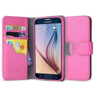 Leatherbook Wallet Case for Samsung Galaxy S6, Pink