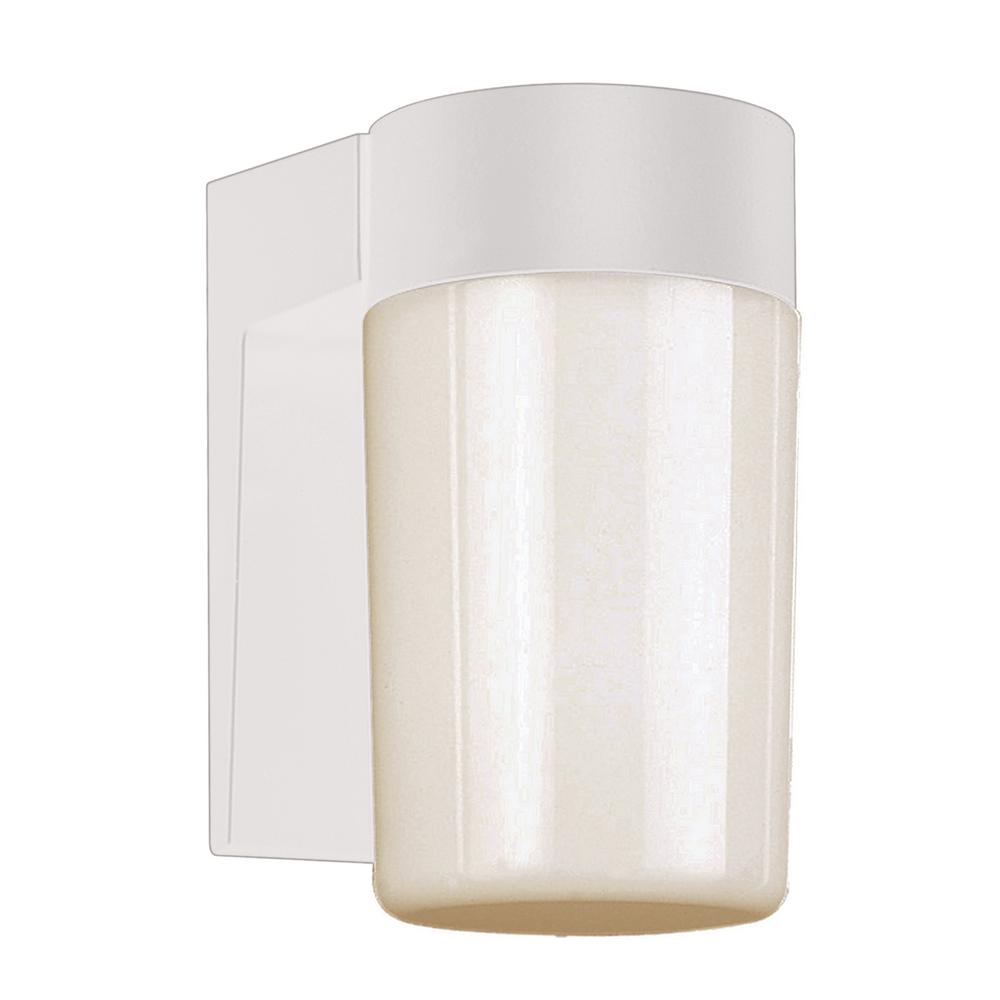 White with Frosted Glass Outdoor Wall Light