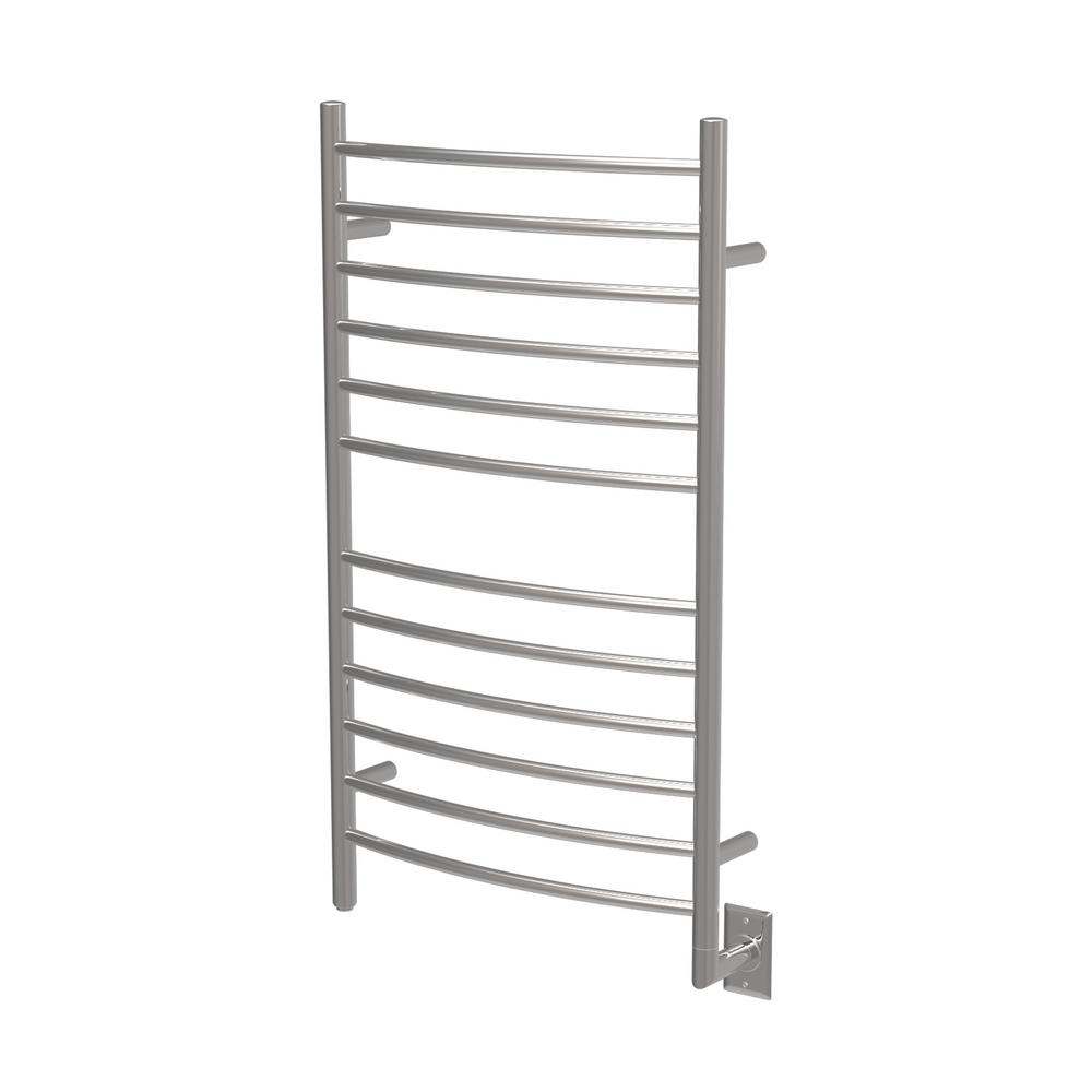Amba Radiant Large Curved 12-Bar Electric Towel Warmer in Polished Stainless Steel