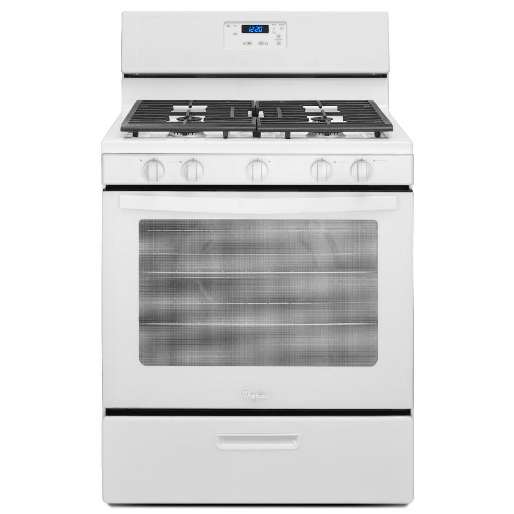 Whirlpool 5.1 cu. ft. Gas Range in White-WFG505M0BW - The Home Depot