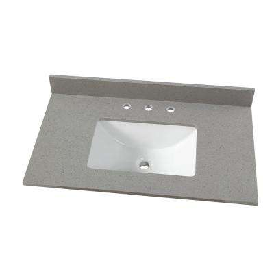 37 in. W x 22 in. D Engineered Quartz Vanity Top in Sterling Grey with White Single Trough Sink