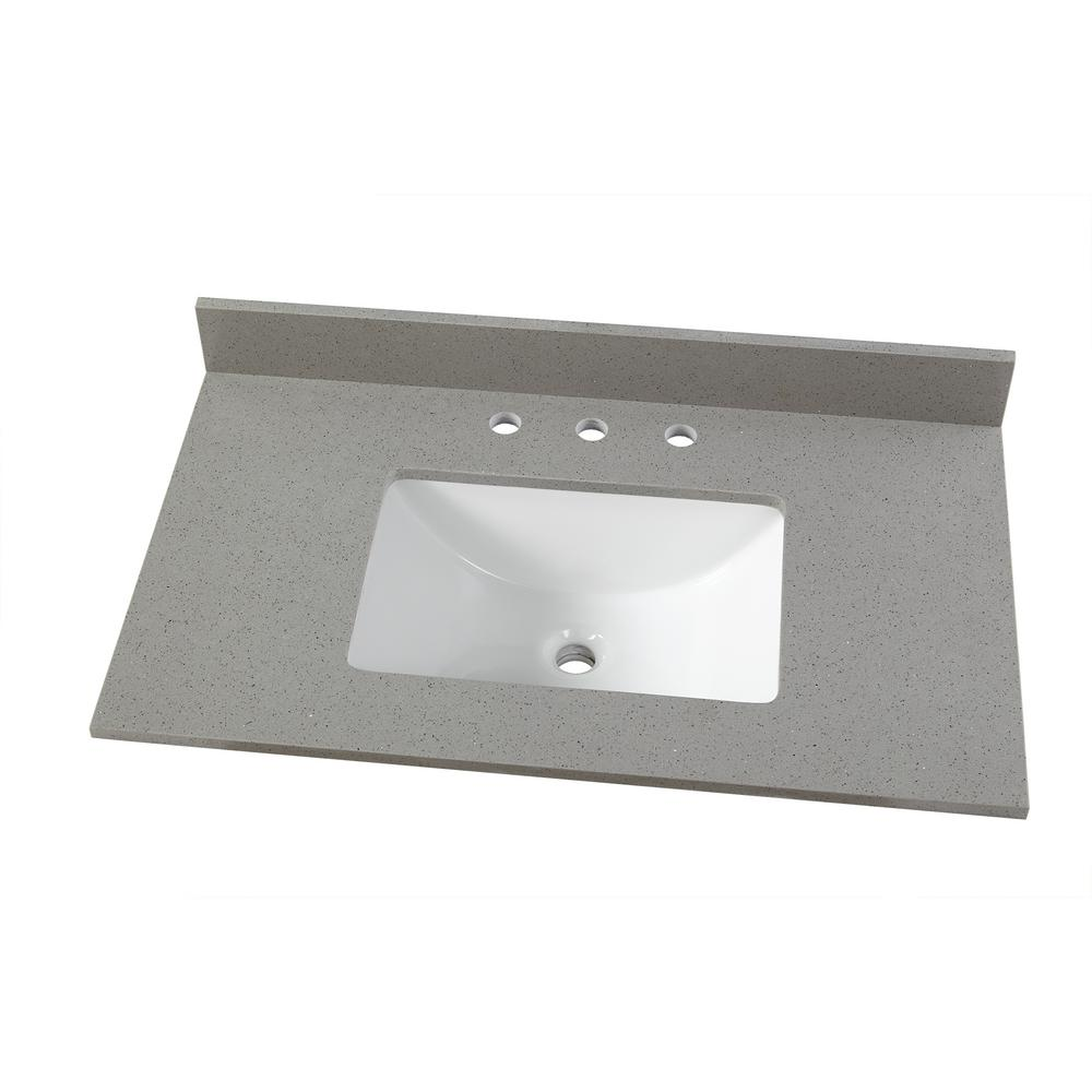 37 In. W X 22 In. D Engineered Quartz Vanity Top In Sterling Grey