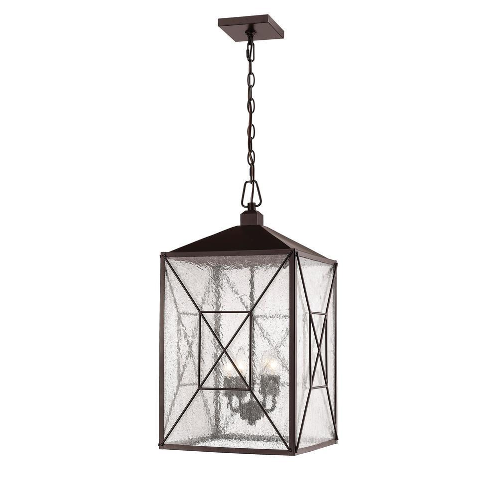 4-Light 25 in. Powder Coat Bronze Outdoor Lantern Pendant