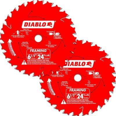 6-1/2 in. 24-Tooth Framing Circular Saw Blade Value Pack (2-Pack)