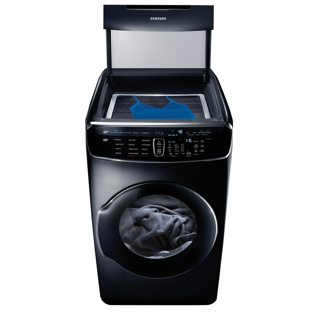 Samsung 7.5 Total cu. ft. Electric FlexDry Dryer with Steam in Black Stainless