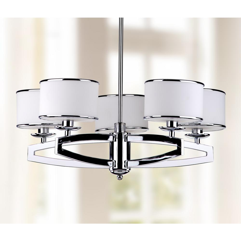 Safavieh Lenora Drum 5-Light Chrome Pendant Chandelier with Etched White Shade