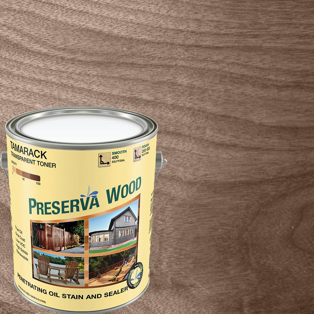 Preserva Wood 1 gal. 100 VOC Oil-Based Tamarack Brown Penetrating Stain and Sealer