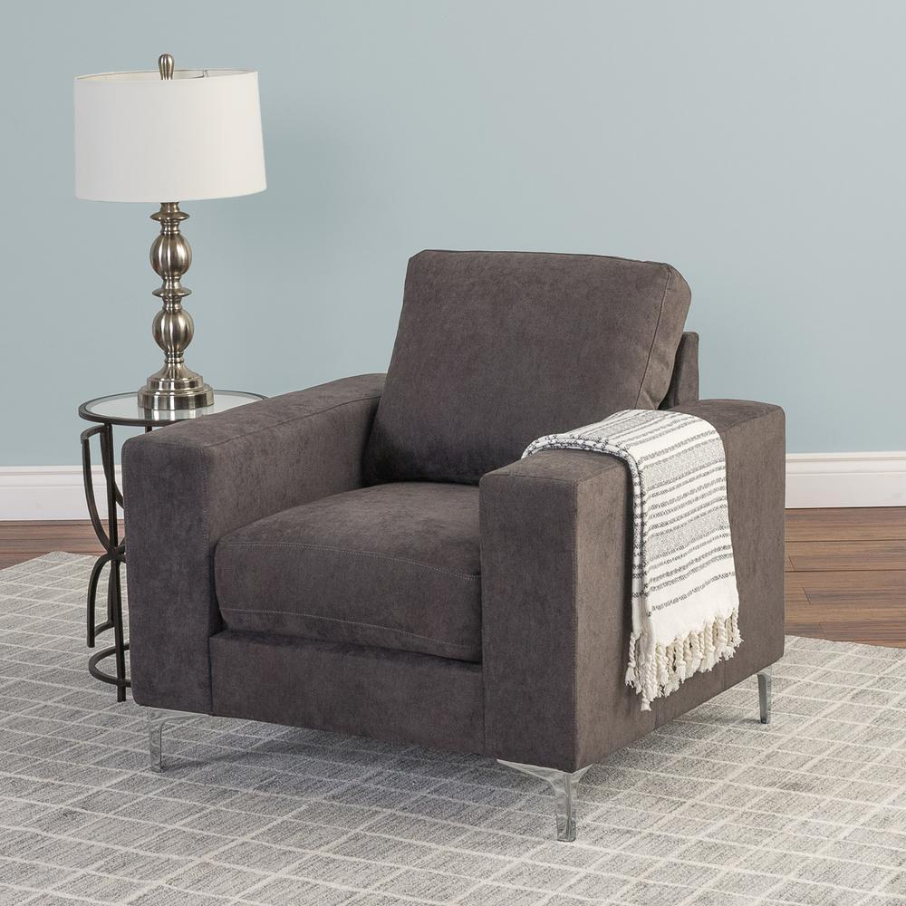 Cory Grey Chenille Fabric Armchair