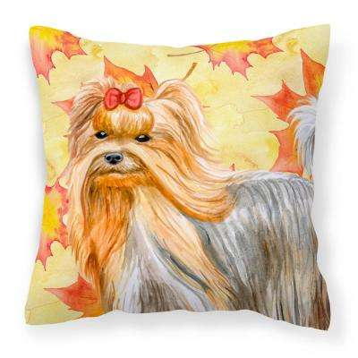 14 in. x 14 in. Multi-Color Lumbar Outdoor Throw Pillow Yorkshire Terrier Fall
