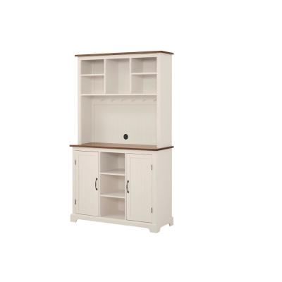 Bainport Ivory Wood Buffet Table with Haze Top (42 in. W x 72 in. H)