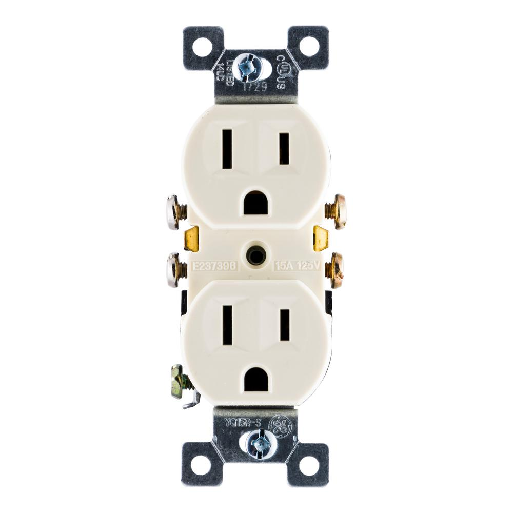 Star Wiring Receptacles Ge 15 Amp 125 Volt Ac Grounding Duplex Receptacle Ivory 54308 The