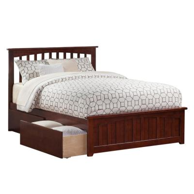 Mission Walnut Queen Platform Bed with Matching Foot Board with 2-Urban Bed Drawers
