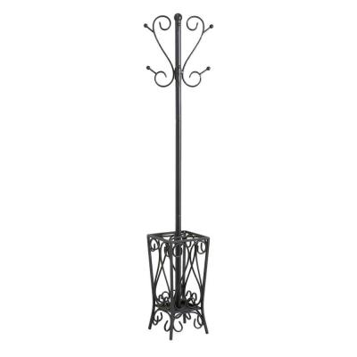 8-Hook Scrolled Metal Coat Rack with Umbrella Storage in Black