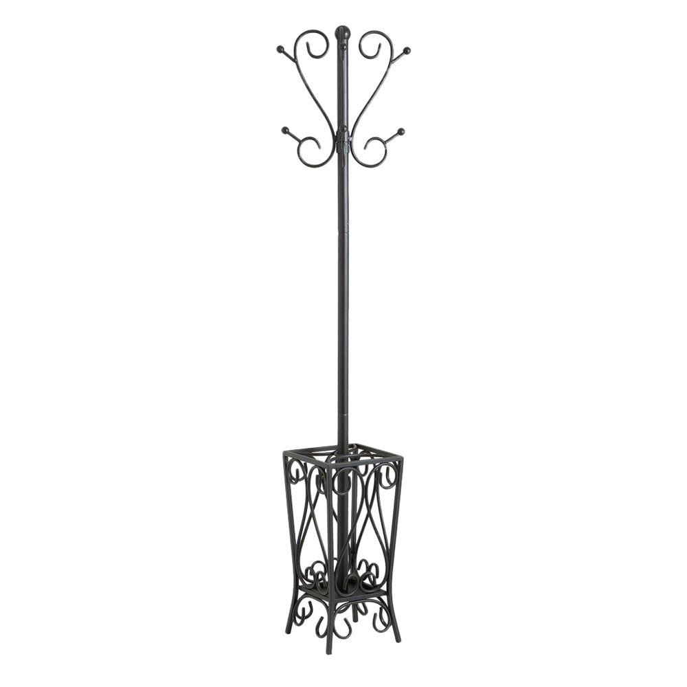Southern Enterprises 8 Hook Scrolled Metal Coat Rack With Umbrella Storage In Black