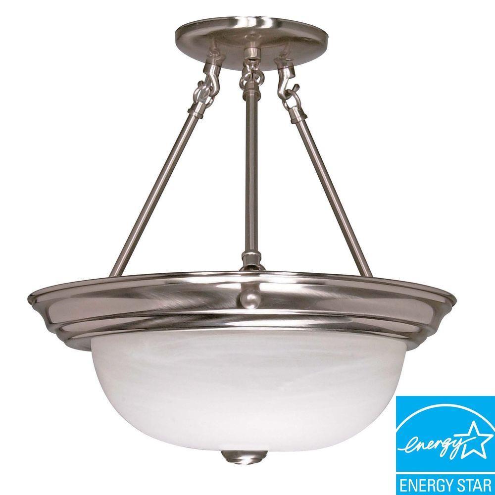 3-Light Brushed Nickel Dome Semi-Flush Mount Light