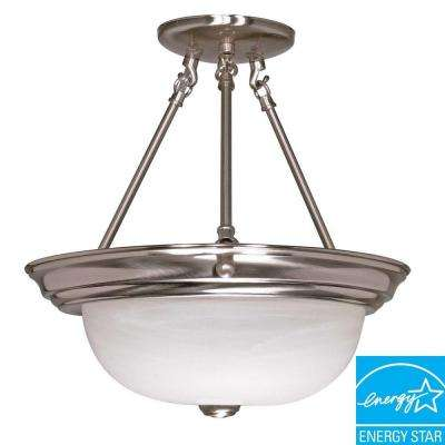 3-Light Brushed Nickel Dome Semi-Flush Mount Light