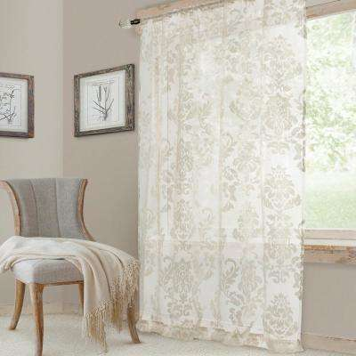 White Valentina Sheer Single Window Curtain Panel - 52 in. W x 95 in. L