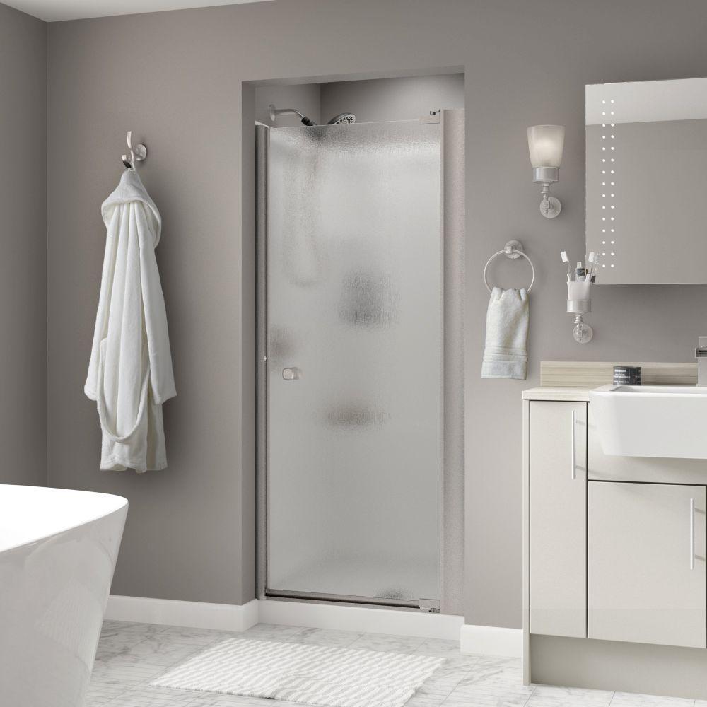 Mandara 33 in. x 64-3/4 in. Semi-Frameless Contemporary Pivot Shower Door